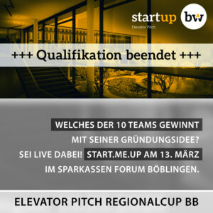 Qualifikation beendet: Start-up BW Elevator Pitch Regionalcup Böblingenelevator-pitch