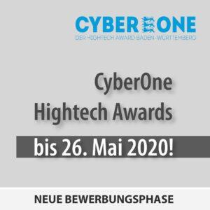 Neue Bewerbungsphase des CyberOne Hightech Awards läuft bis 26. Mai 2020