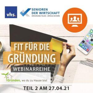"""Webinarreihe """"Fit für die Gründung"""" in Herrenberg (VHS)"""